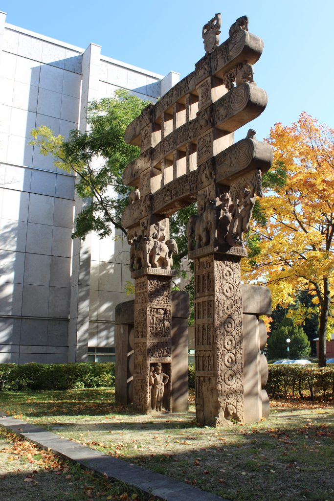 Copy of the Sanchi Gate from India, in Berlin museum courtyard (c) Sally Foster