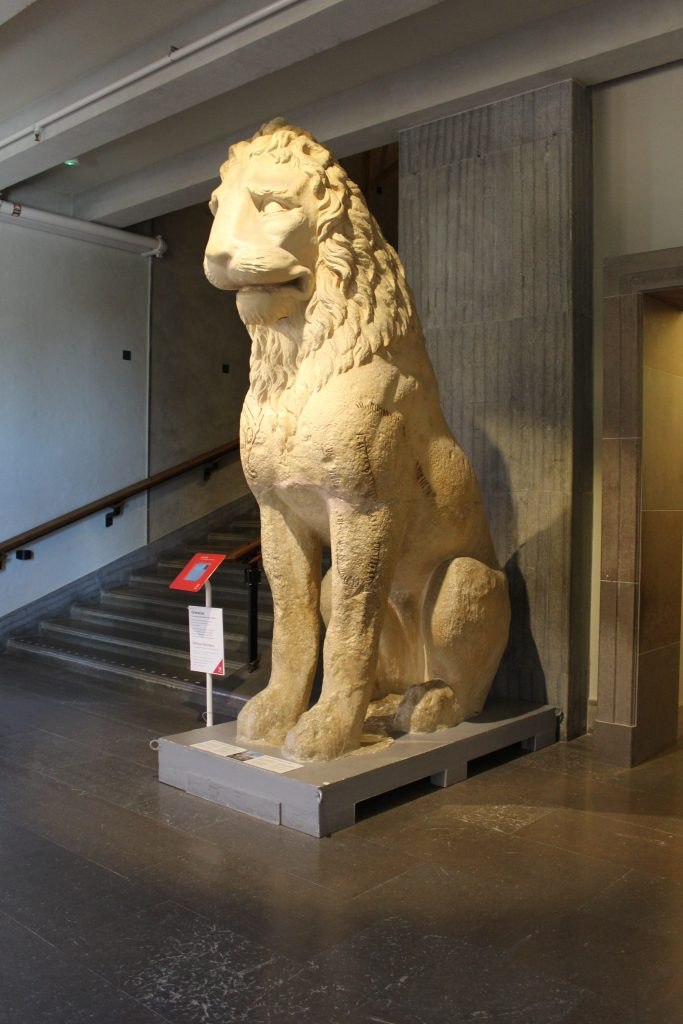 Plaster cast of lion from St Mark's Venice, with runic inscriptions, Swedish History Museum (c) Sally Foster