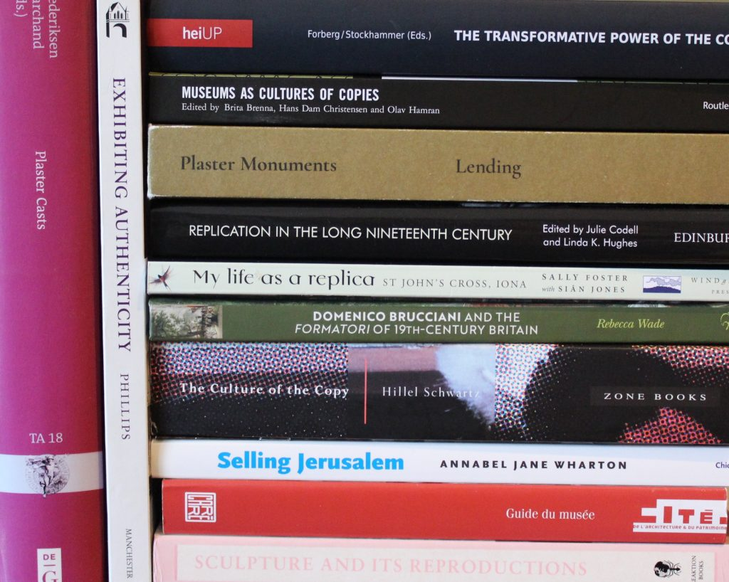 A close-up of the spines of books about replicas (c) Sally Foster