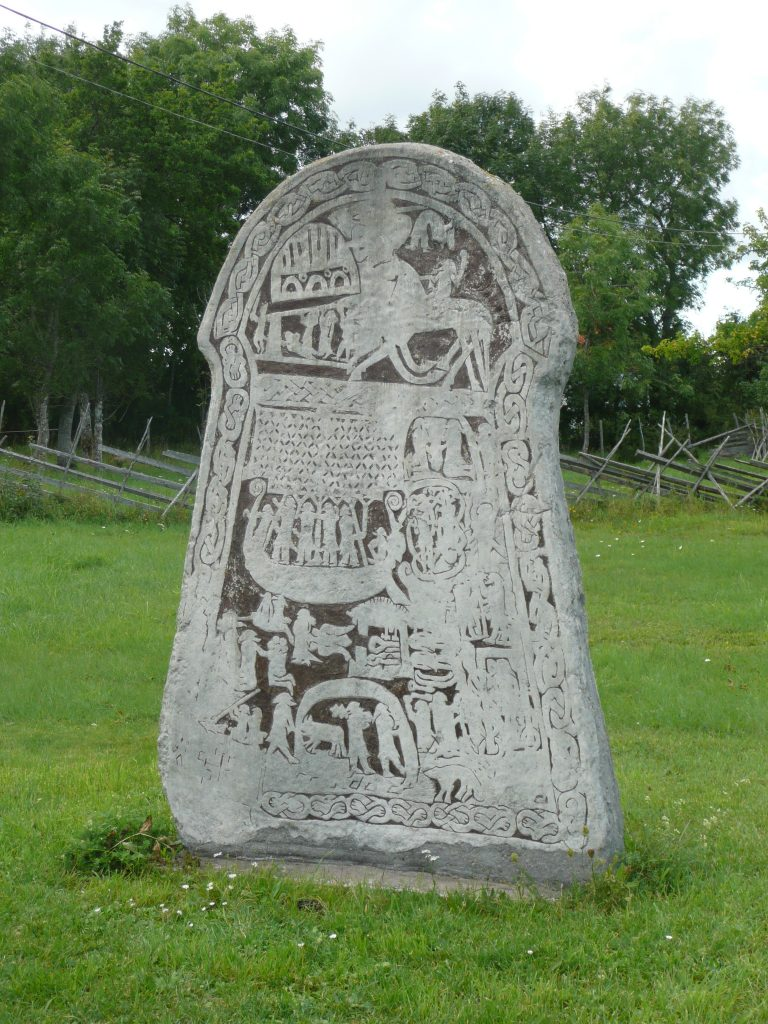Concrete replica of Ardre picture stone, Gotland, Sweden (c) Sally Foster