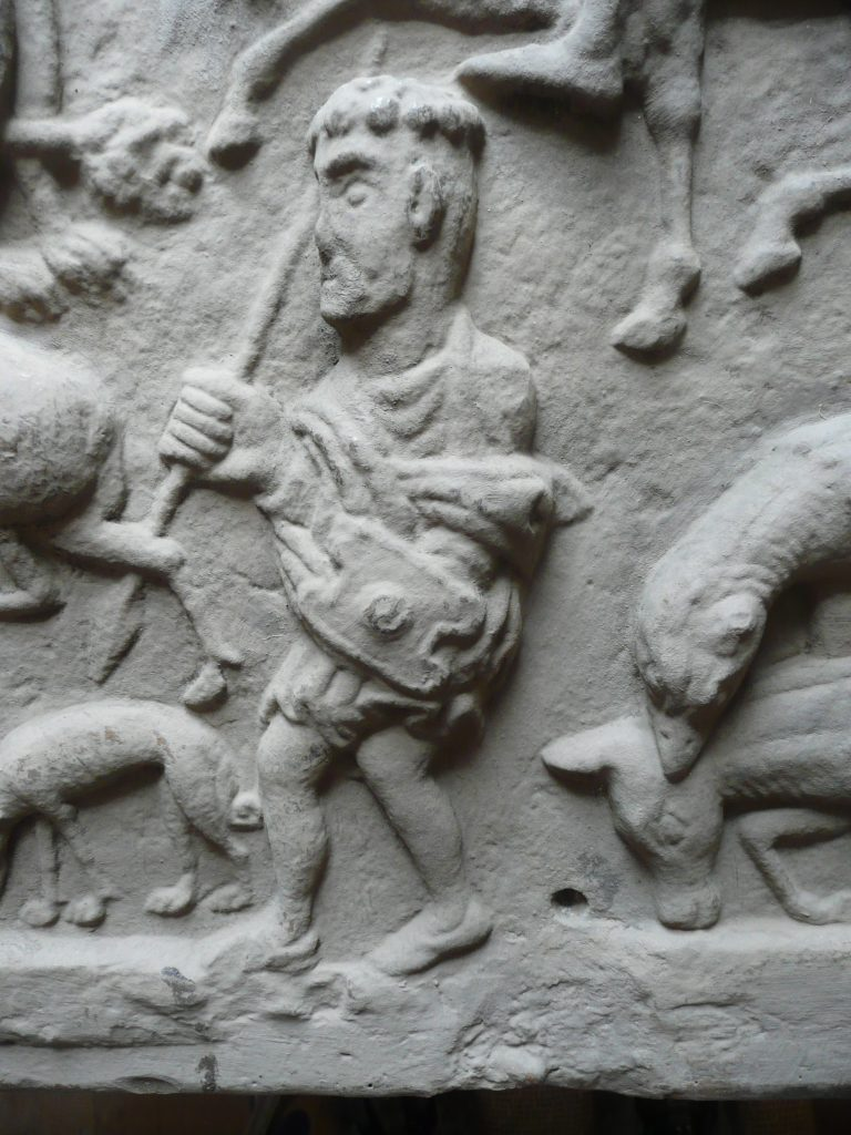 Detail of a well-preserved historic plaster cast, with later painted surface (c) Sally Foster, by kind permission of National Museums Scotland